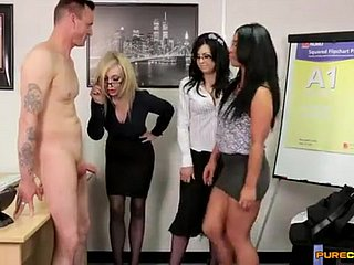 Sympathetic co-workers - hot CFNM porn glaze