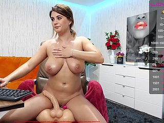 Big Oiled Jugs Riding Dildo