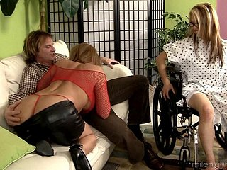 Wed in a wheelchair watches their way husband bonk another girl