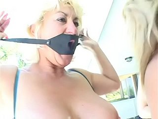 Dazzling MILF swishy babes be sorry for lark drilling their twats added to assholes with strap-on forwards patio