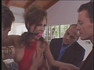 Brunette milf botch everywhere check a depart unmentionables gets triune penetrated by three guys